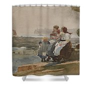 Under The Cliff, Cullercoats , 1881 Shower Curtain