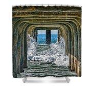 Under The Pier Manhattan Shower Curtain by Michael Hope