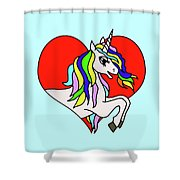 Unicorn In The Heart On Baby Blue Kids Room Decor Shower Curtain
