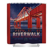 Union Railroad Bridge - Riverwalk Shower Curtain by Clint Hansen