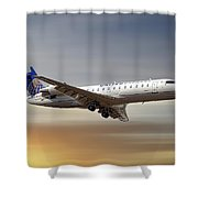 United Express Bombardier Crj-200lr Shower Curtain