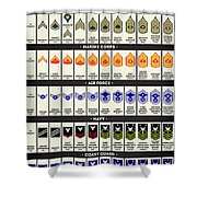 United States Armed Forces Enlisted Rank Insignia Shower Curtain