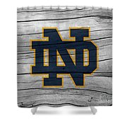 University Of Notre Dame Fighting Irish Logo On Rustic Wood Shower Curtain
