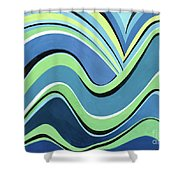 Untitled  Abstract Blue And Green Shower Curtain