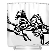 Untitled  Three Horses Shower Curtain