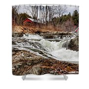 Upper Cox Brook Fall Covered Bridge Shower Curtain