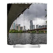 Urban Skyline Of Austin Buildings From Under Bridge With Stormy  Shower Curtain