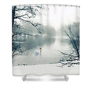 Swan Song Blue Shower Curtain