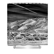 Valley Of Fire Black White Nevada  Shower Curtain