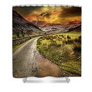 Valley Sunset Snowdonia Shower Curtain
