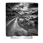 Valley Sunset Snowdonia Bw Shower Curtain by Adrian Evans