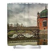 Vallo Castle Wooden Moat Bridge Shower Curtain