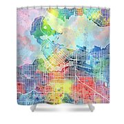 Vancouver Map Watercolor Shower Curtain