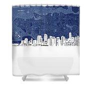 Vancouver Skyline Map Blue Shower Curtain