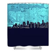 Vancouver Skyline Map Turquoise Shower Curtain