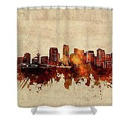 Vancouver Skyline Sepia Shower Curtain