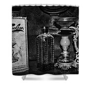 Vapo-cresolene Vaporizer And Bottle Respiratory Remedy Black And White Shower Curtain