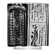Vapo-cresolene Vaporizer Liquid Poison Bottle Black And White Shower Curtain