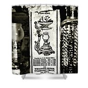 Vapo-cresolene Vaporizer Liquid Poison Original Packaging Black And White Shower Curtain