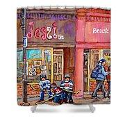 Verdun Montreal Storefront Painting Jessie Et Cie Beaute Candy Nail Shop Hockey Artist C Spandau Art Shower Curtain