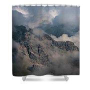 Very Cloudy Morning In Dolomites Shower Curtain by Jaroslaw Blaminsky