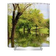 Veteran's Lake 01 Shower Curtain by Rob Graham
