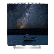 Vibrant Milky Way Composite Image Over Landscape Of Fishing Boat Shower Curtain