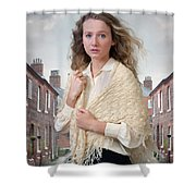 Victorian Woman On A Cobbled Terraced Street Shower Curtain