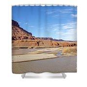 View At Sorrel River Ranch On The Colorado River Near Moab, Utah Shower Curtain