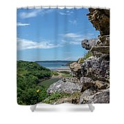 View From Pennard Castle Square Shower Curtain