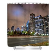 View Of Chicago Skyscrappers With Busy Street In The Foreground Shower Curtain