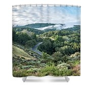 View Of Curved Road Through Dense Forest Area With Low Clouds Ov Shower Curtain