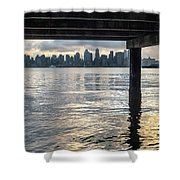 View Of Downtown Seattle At Sunset From Under A Pier Shower Curtain
