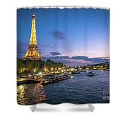 View Of The Eiffel Tower During Sunset From The Scene River Shower Curtain