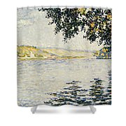 View Of The Seine At Herblay     Shower Curtain