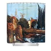 Villa By The Sea 1878 Shower Curtain
