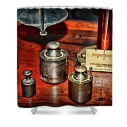 Vintage Apothecary Pharmacist Weights And Scale Shower Curtain