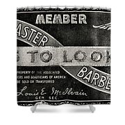 Vintage Associated Master Barber Sign Black And White Shower Curtain