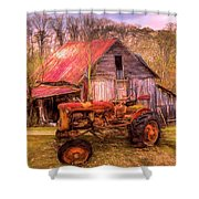 Vintage At The Farm Watercolors Painting Shower Curtain