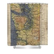 Vintage Auto Map Western Washington Olympic Peninsula Hand Painted Shower Curtain