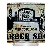 Vintage Barber Sign From The 1950s Shower Curtain