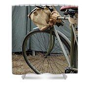 Vintage Bicycle World War II  Shower Curtain