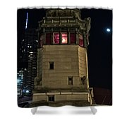 Vintage Chicago Bridge Tower At Night Shower Curtain