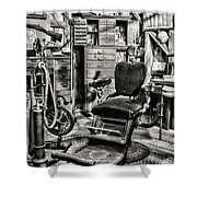 Vintage Dentist Office And Drill Black And White Shower Curtain