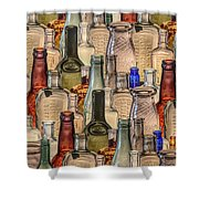 Vintage Glass Bottles Collage Shower Curtain