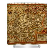 Vintage Map Of Belgium And Flanders Shower Curtain