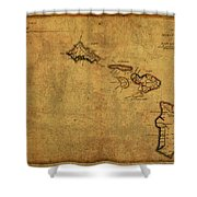 Vintage Map Of Hawaii 1837 Shower Curtain