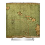 Vintage Map Of Hawaii Shower Curtain