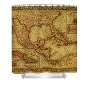Vintage Map Of Mexico Shower Curtain