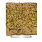 Vintage Map Of Montana Shower Curtain